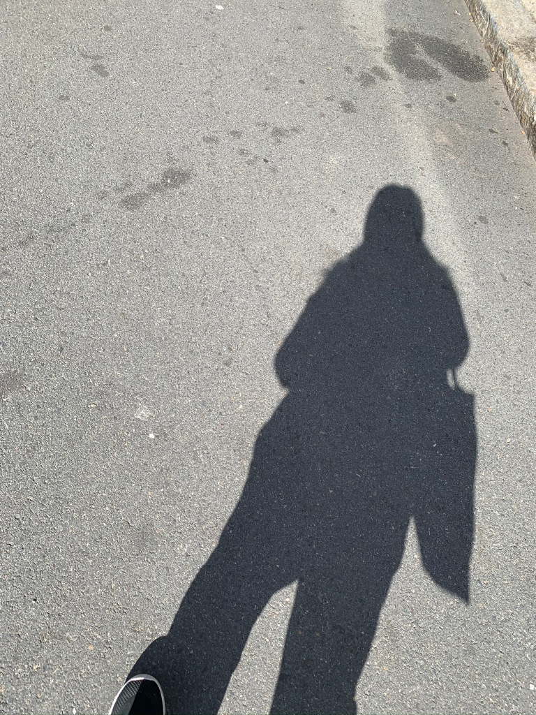 A shadow of the blog writer as she walks down Salem's asphalt street.